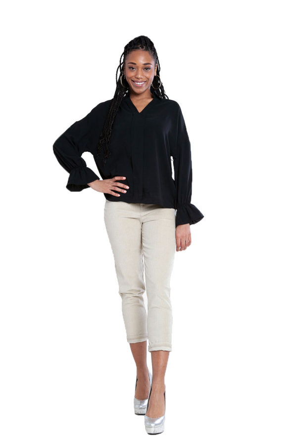 black v neck blouse- front