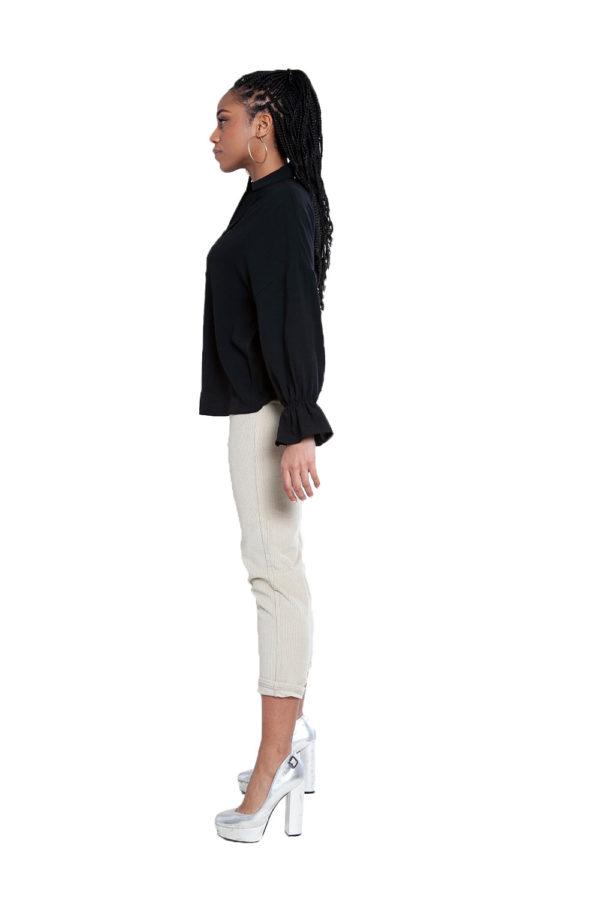 black v neck blouse- side