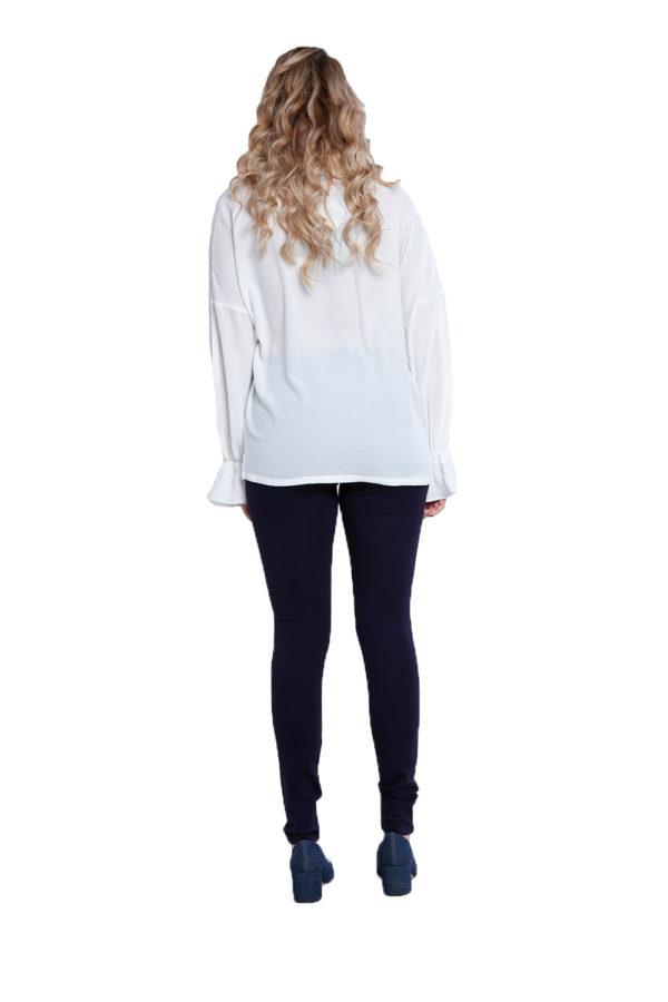 white v neck blouse- back