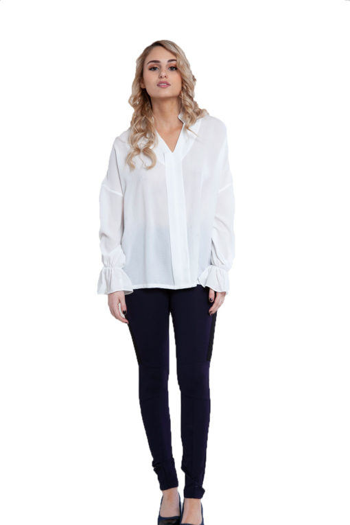 white v neck blouse- front