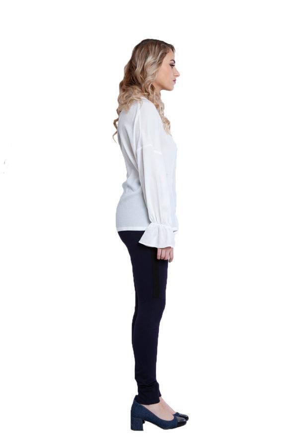 white v neck blouse- side