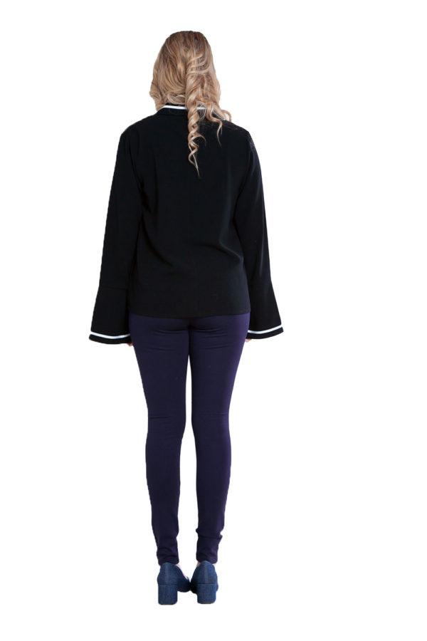 black contrast stitch blouse- back