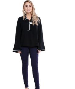 black contrast stitch blouse- front