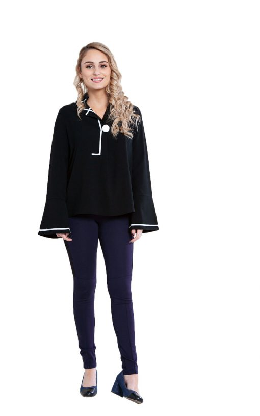 black contrast stitch blouse- front