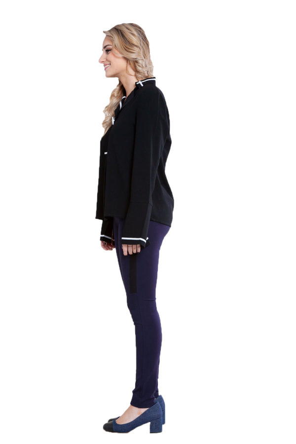 black contrast stitch blouse- side