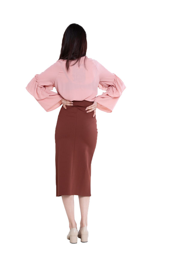 pink ruffle blouse- back
