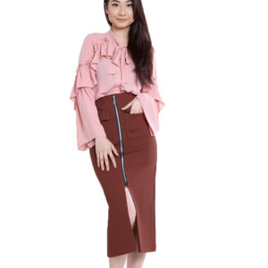 pink ruffle blouse- front