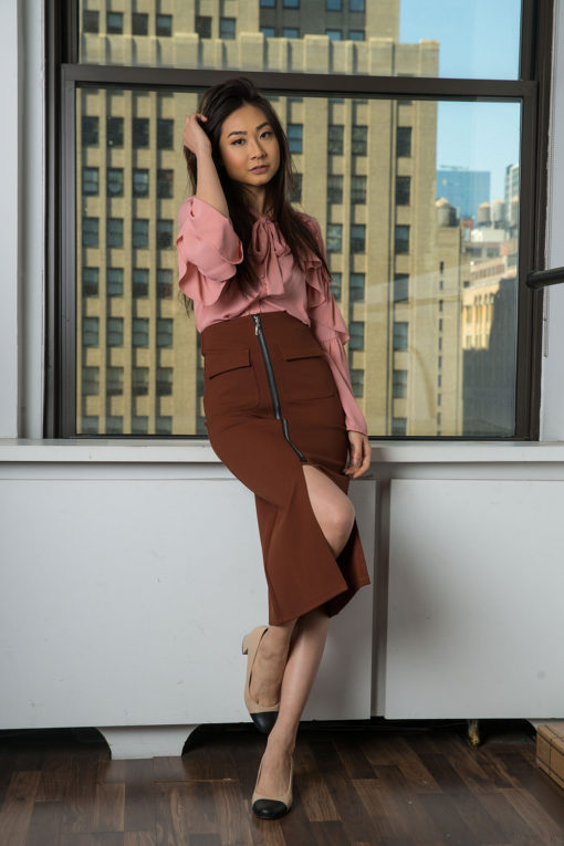 zip front rust skirt- front