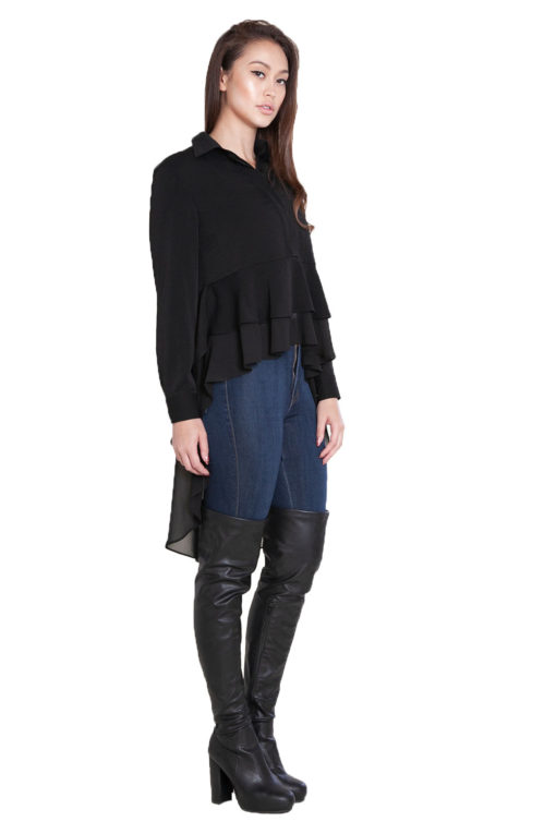 black ruffle front high low blouse- side