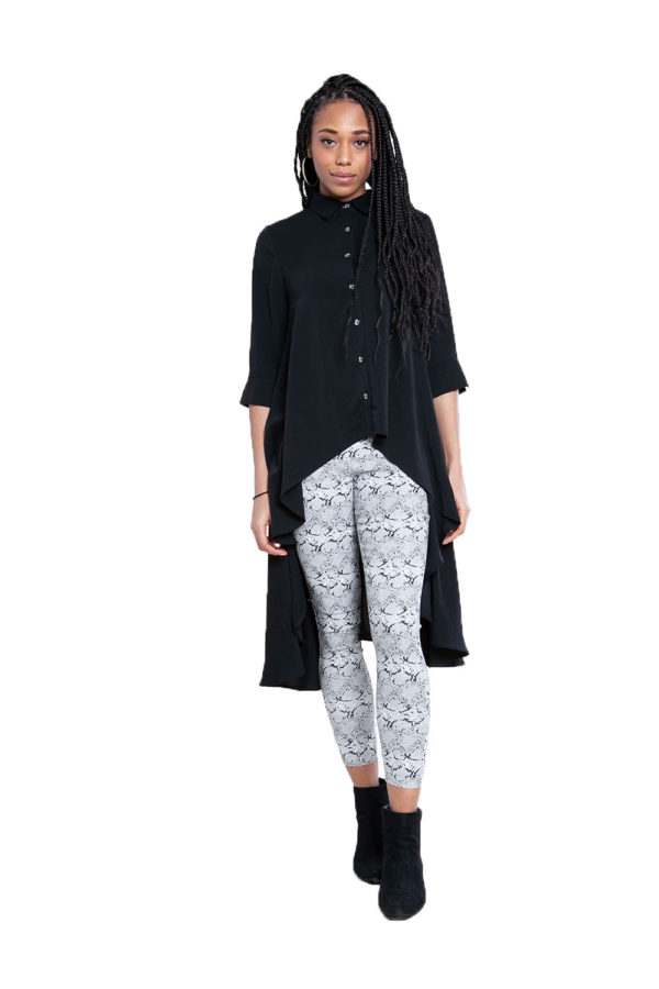 black high low blouse- front