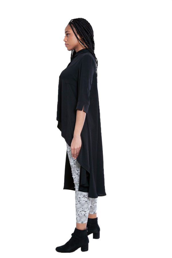 black high low blouse- side