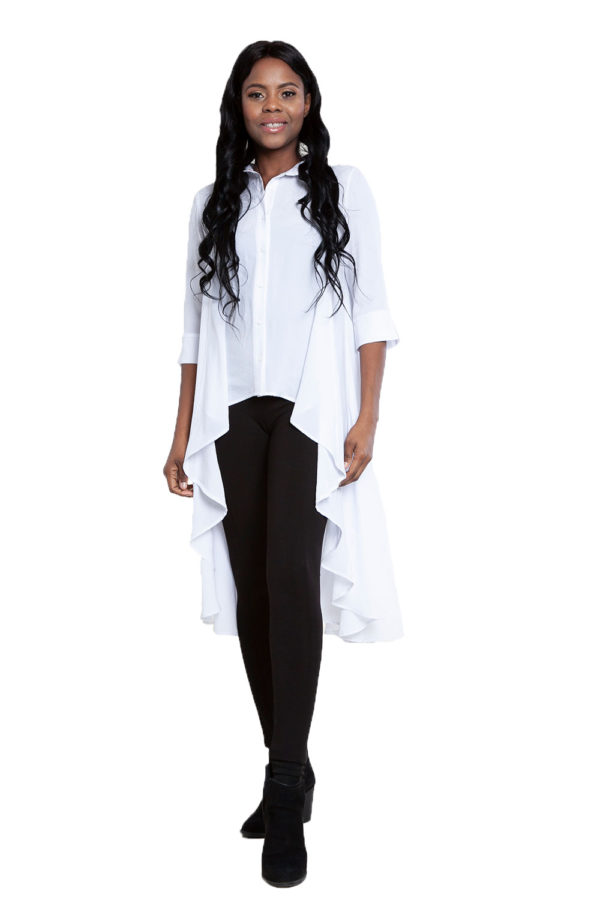 white high low blouse- front