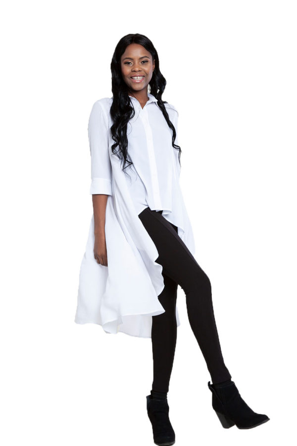 white high low blouse- side