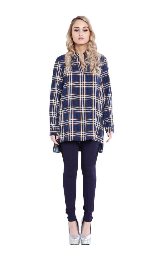 navy plaid zip front top- front