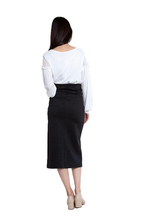long sleeve white ruffle top- back