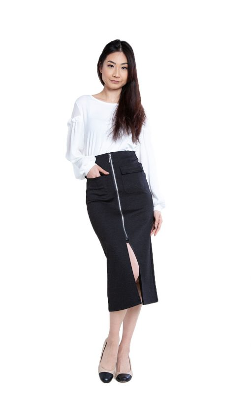 zip front black skirt- front