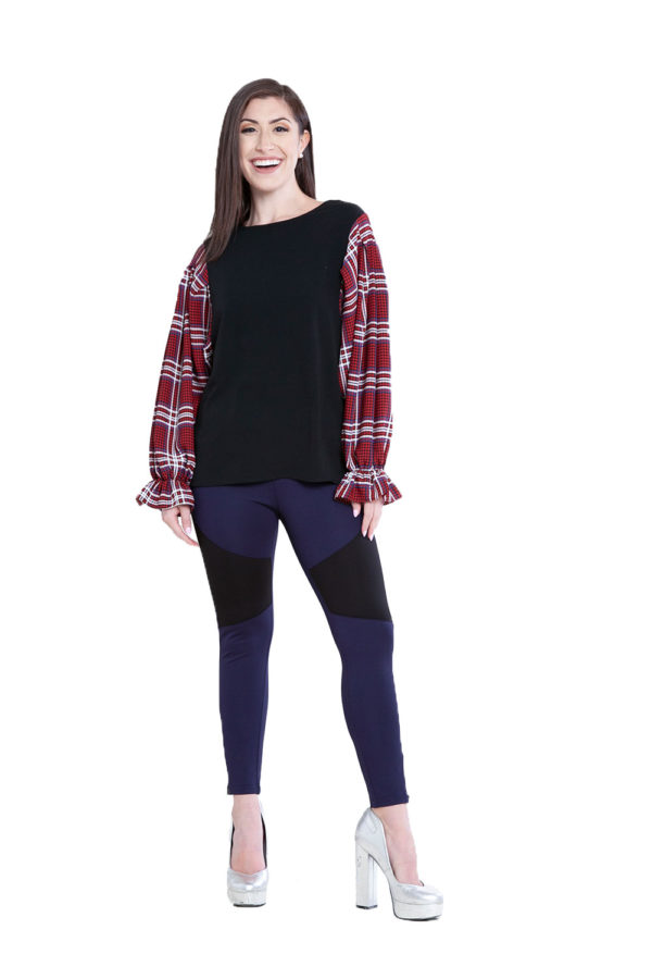 contrast sleeve top- front