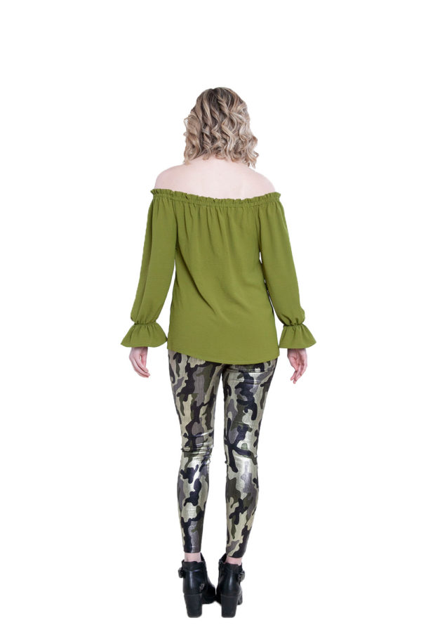 olive ruffle bardot top- back