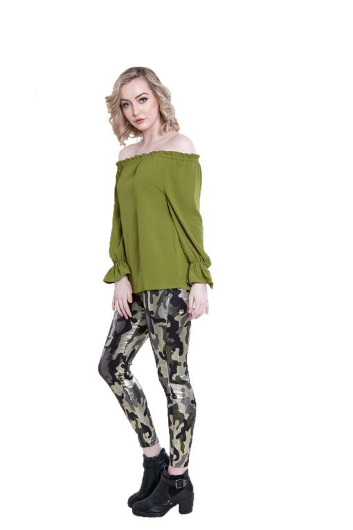 olive ruffle bardot top- side