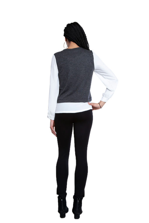twofer layered grey top- back