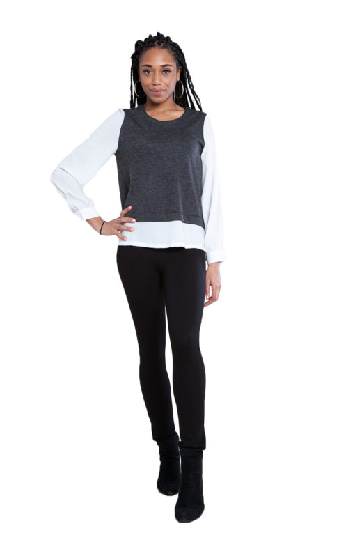 twofer layered grey top- front