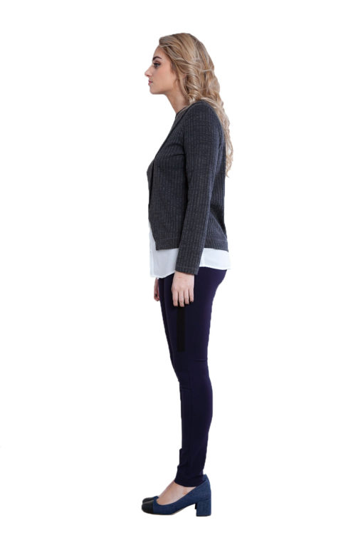 twofer layered grey top- side