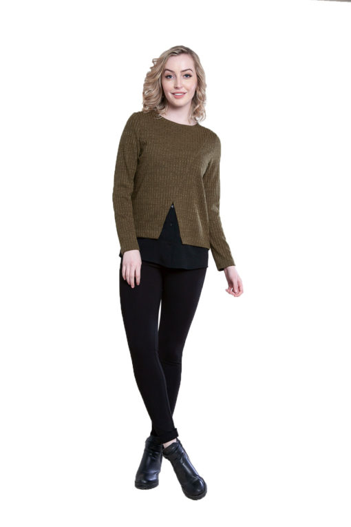 twofer layered olive top- front