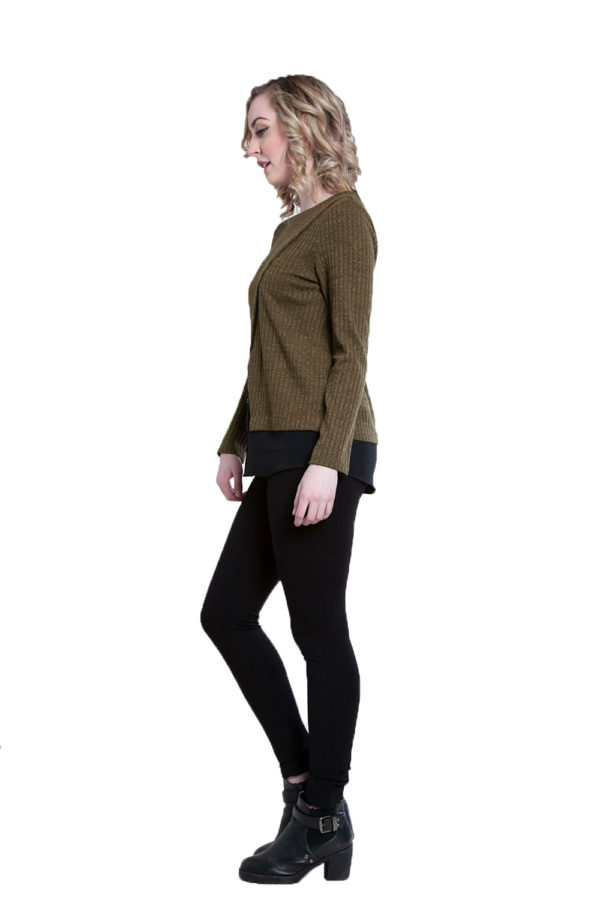 twofer layered olive top- side