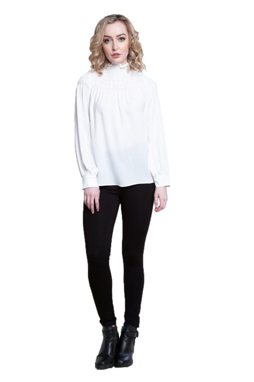 white high neck top- front