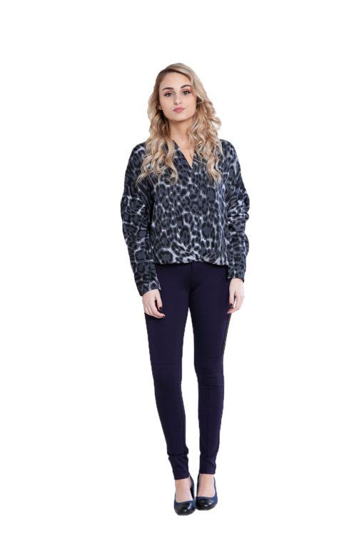 black leopard print top- front