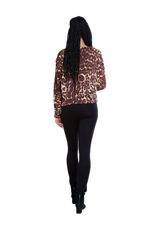 brown leopard print top- back