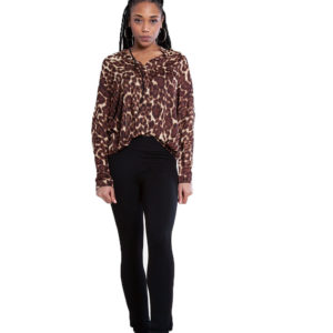brown leopard print top- front