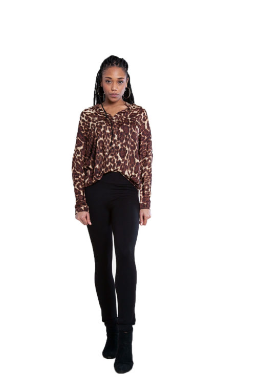 brown leopard print top- front