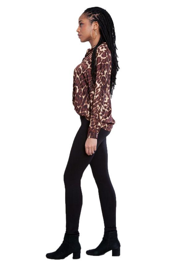 brown leopard print top- side