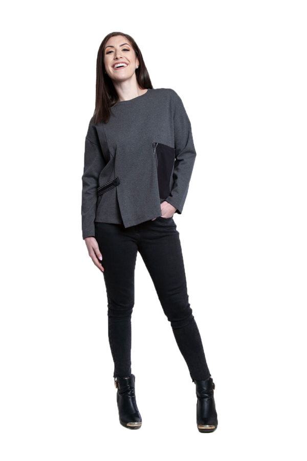 color block patch grey top- front