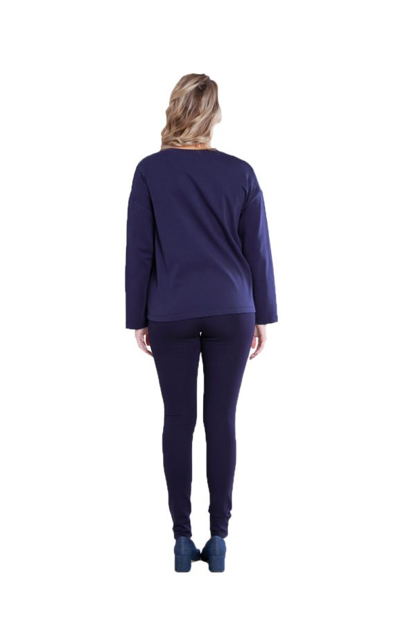 color block patch navy top- back