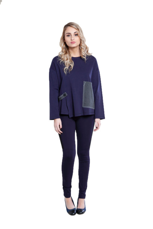 color block patch navy top- front