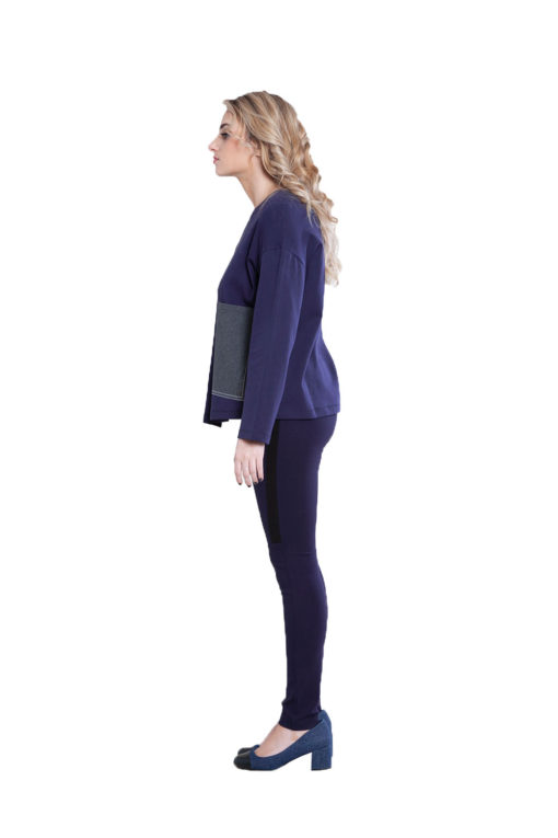 color block patch navy top- side
