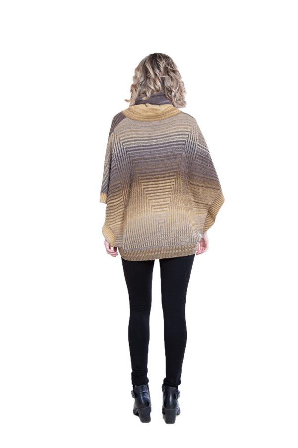 yellow knit turtleneck poncho- back