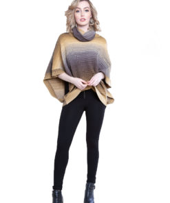 yellow knit turtleneck poncho- front