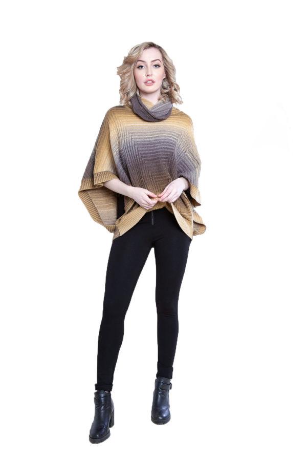 yellow knit turtleneck poncho- front