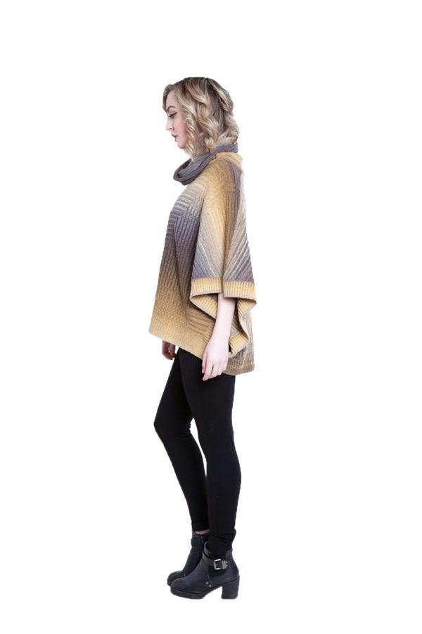 yellow knit turtleneck poncho- side