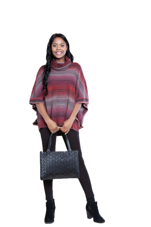 cranberry knit turtleneck poncho- front