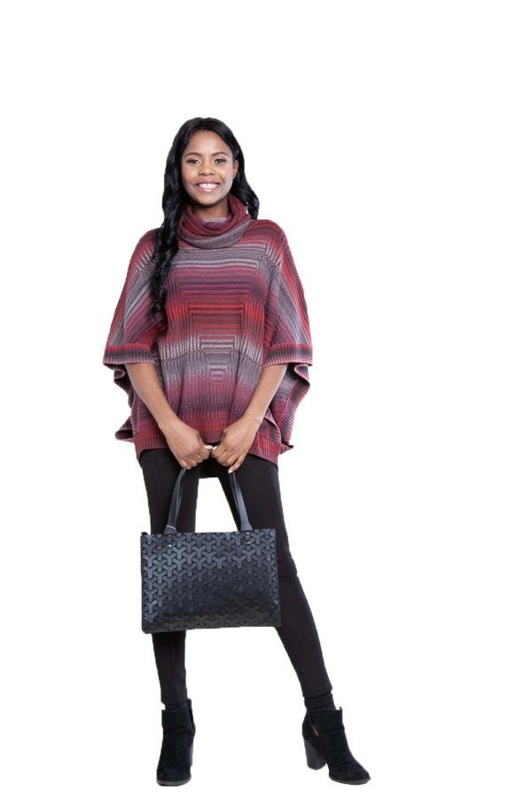 cranberry knit turtleneck poncho- front