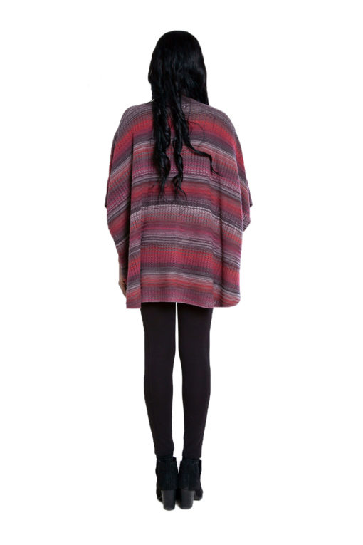 cranberry burgundy knit open sweater- back