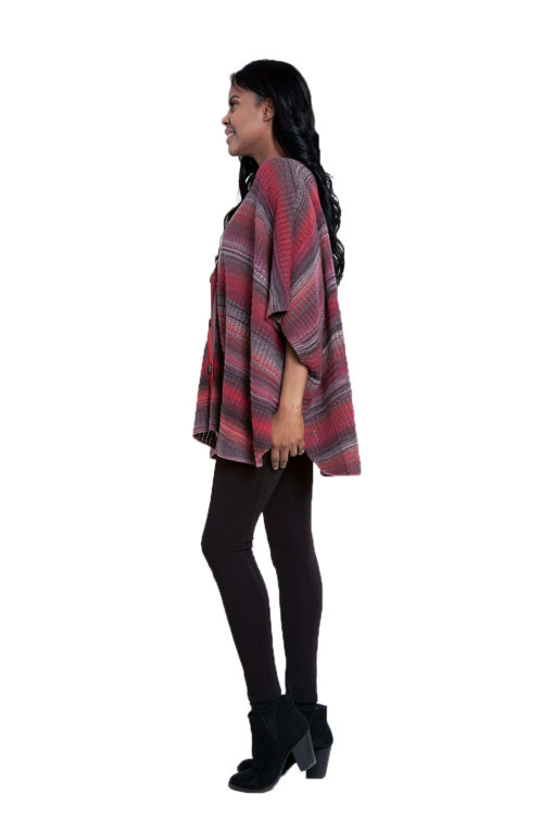 cranberry burgundy knit open sweater- side