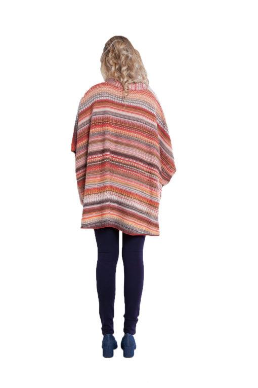 Maple orange knit open sweater- back