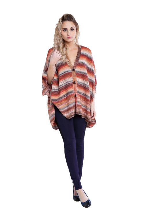 Maple orange knit open sweater- front