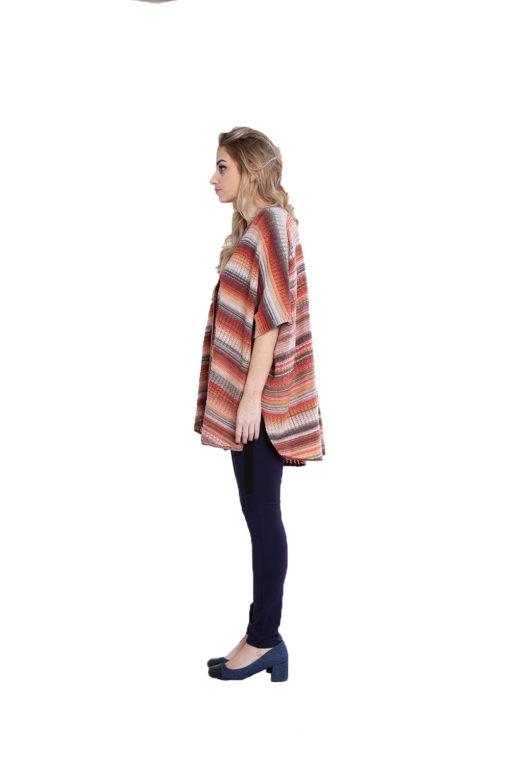 Maple orange knit open sweater- side
