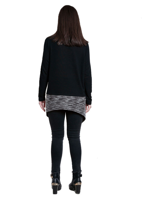 asymmetric black top with removable scarf- back